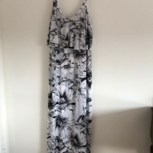 Flattering black and white maxi